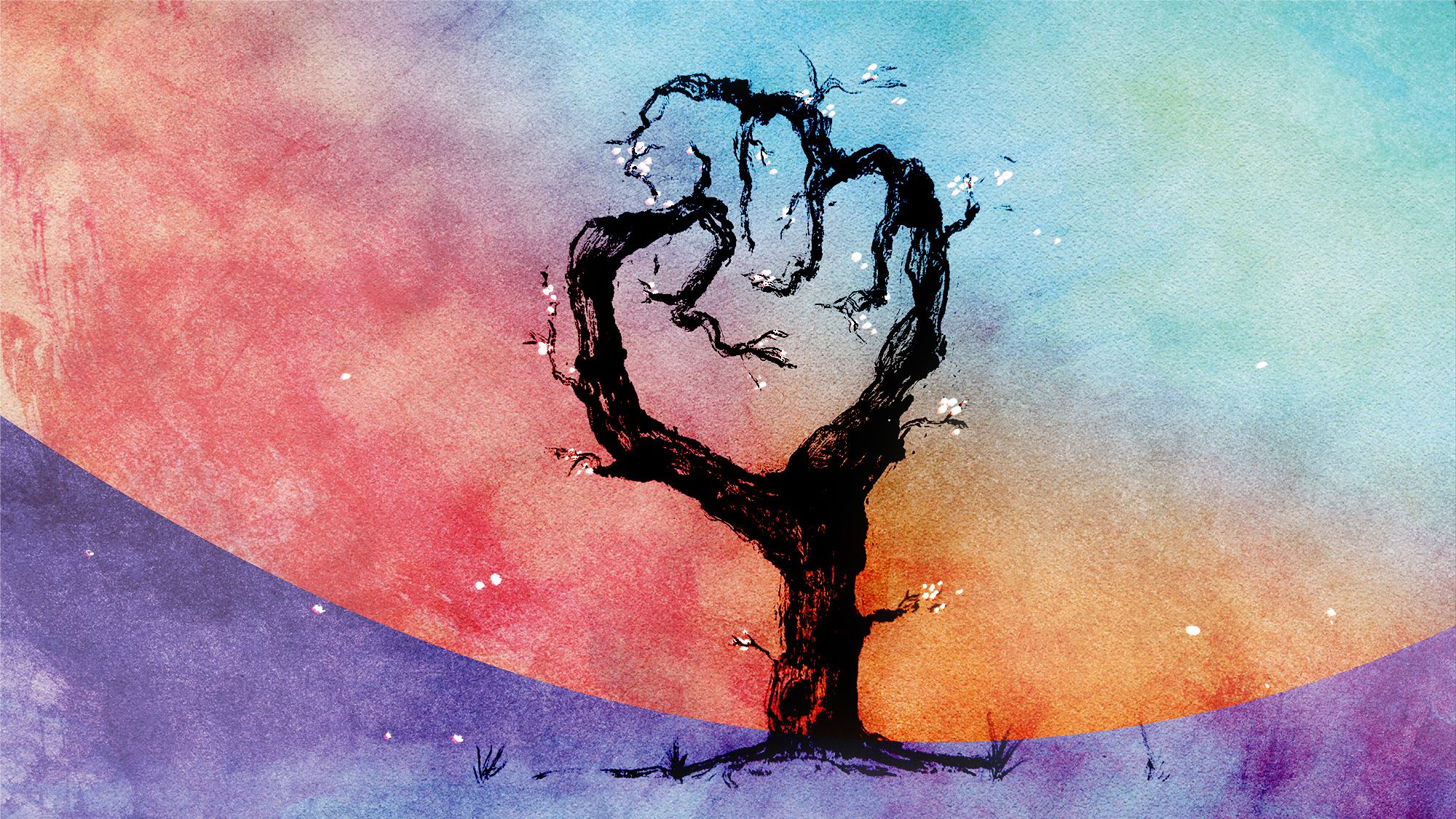 Abstract tree with branches shaped in a fist with white blossoms and a multi-color watercolor background.